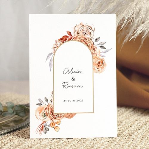Faire-Part Mariage Romantico, Roses caramel & dorure
