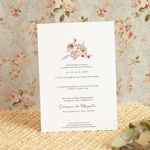 Faire-Part Mariage Romantico, Roses caramel & dorure pas cher