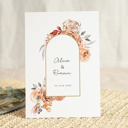 Faire-Part Mariage Romantico, Roses caramel & dorure gratuit