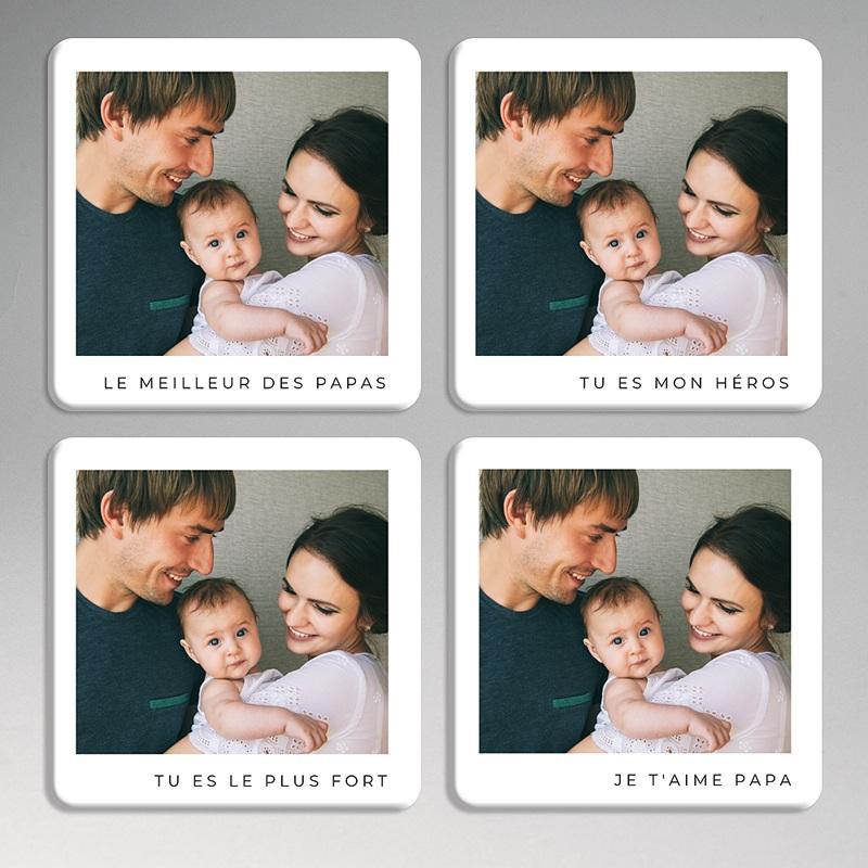 Dessous de Verre Personnalisé Photo Quatuor d'Amour pour Papa