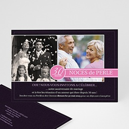Carte invitation anniversaire mariage Fleurs de Mariage
