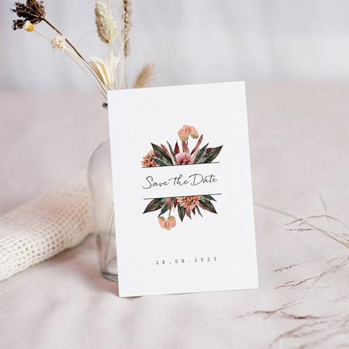 Save The Date Mariage Bouquet Fleurs Rouges, Jour J