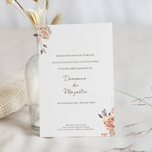 Carte Invitation Mariage Romantico, Roses caramel, Cocktail & Dîner pas cher