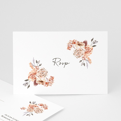Carton Réponse Mariage Romantico, Roses caramel, Rsvp