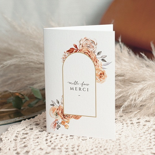 Carte Remerciement Mariage Romantico, Roses caramel, 10,5 x 15 cm