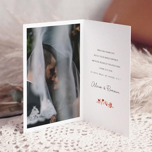 Carte Remerciement Mariage Romantico, Roses caramel, 10,5 x 15 cm pas cher