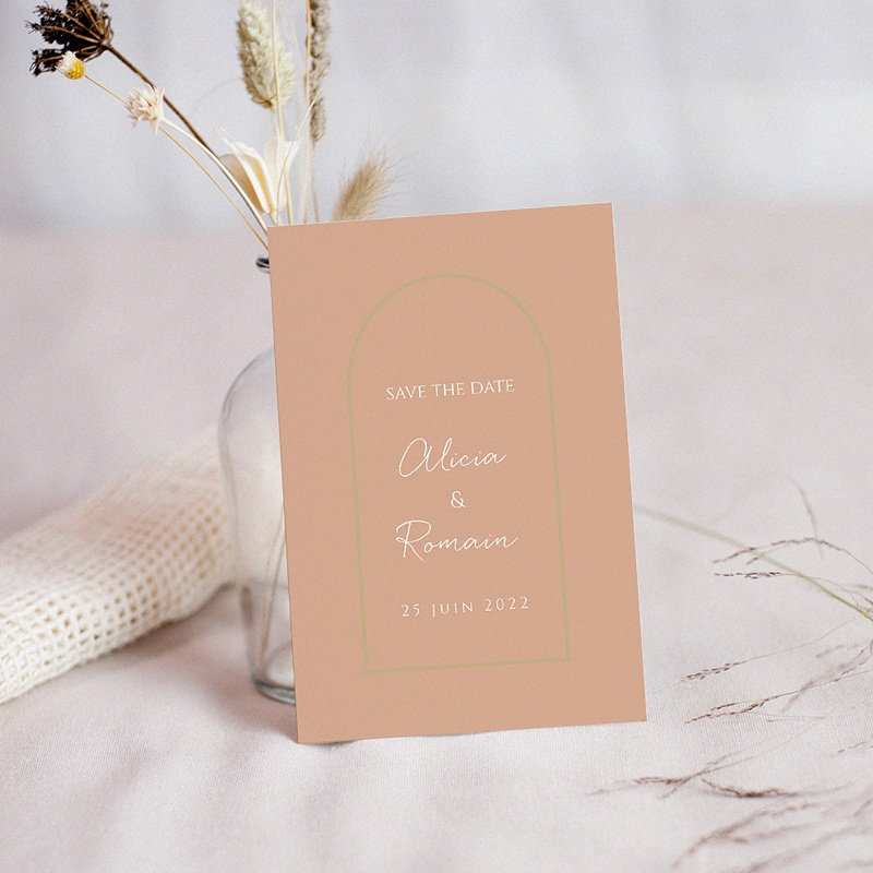 Save The Date Mariage Romantico, Roses caramel, Jour J