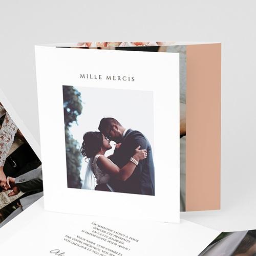 Carte Remerciement Mariage Romantico, Roses caramel, 3 volets décalés