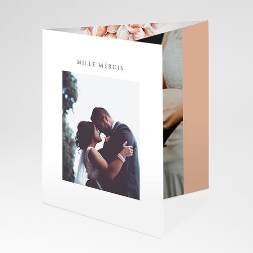 Carte Remerciement Mariage Romantico, Roses caramel, 3 volets décalés pas cher
