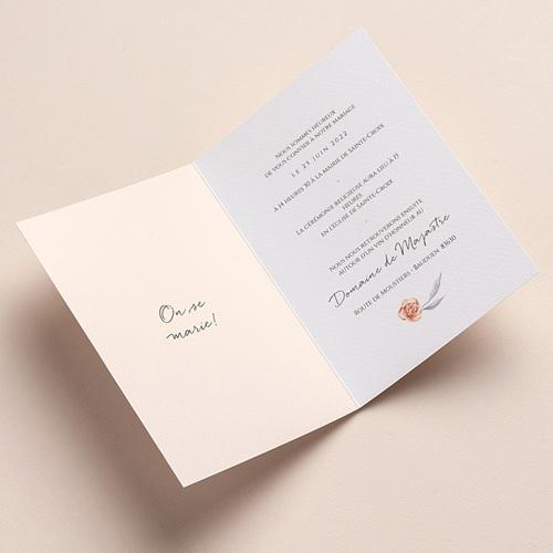 Faire-Part Mariage Romantico, Roses caramel, 12 x 17 cm pas cher