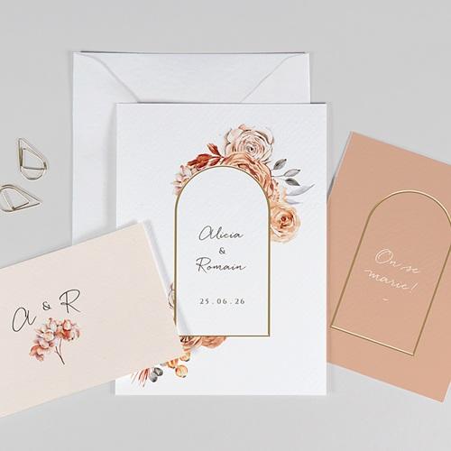 Faire-Part Mariage Romantico, Roses caramel, 3 en 1