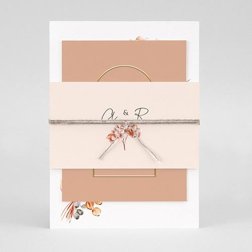 Faire-Part Mariage Romantico, Roses caramel, 3 en 1 pas cher