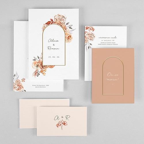 Faire-Part Mariage Romantico, Roses caramel, 3 en 1 gratuit