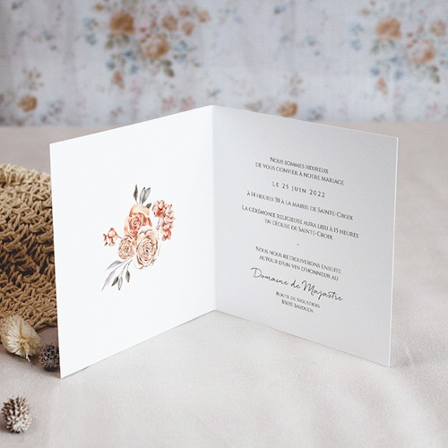 Faire-Part Mariage Romantique Romantico, Roses caramel, 14 x 14 cm pas cher