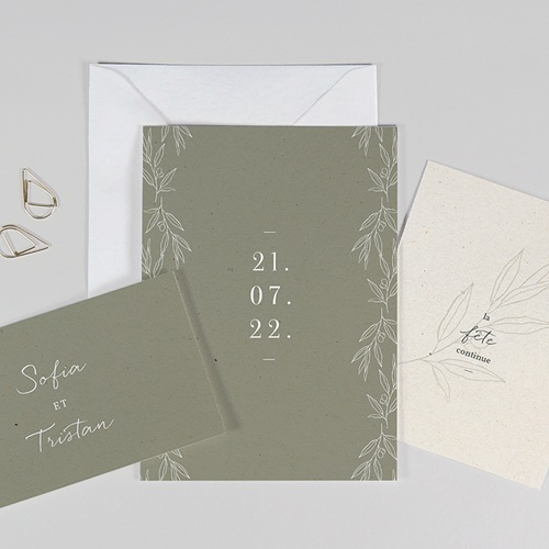 Faire-Part Mariage Olivier texture papier, 3 en 1