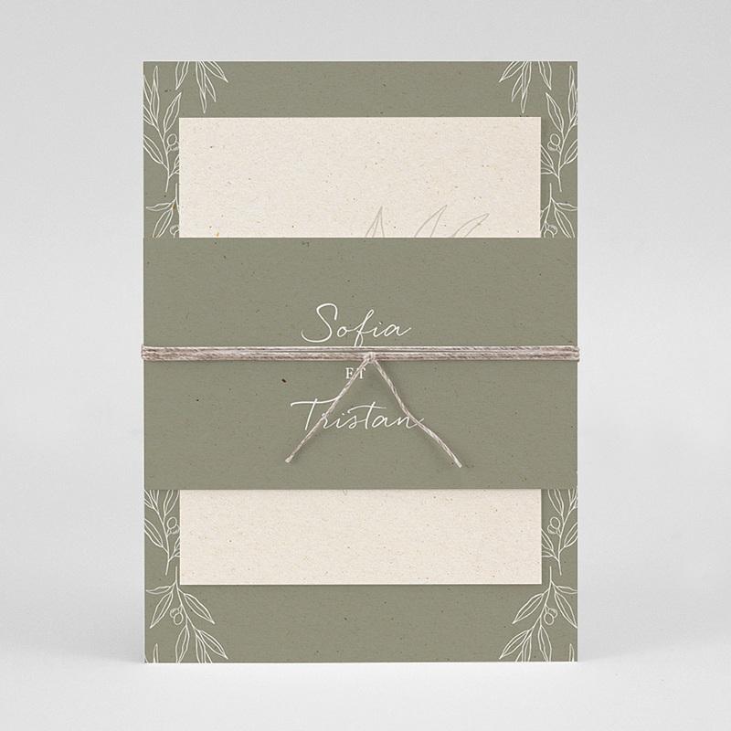 Faire-Part Mariage Olivier texture papier, 3 en 1 pas cher