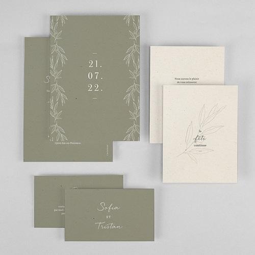 Faire-Part Mariage Olivier texture papier, 3 en 1 gratuit