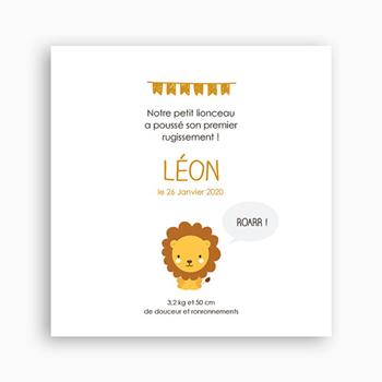 faire-part naissance lion