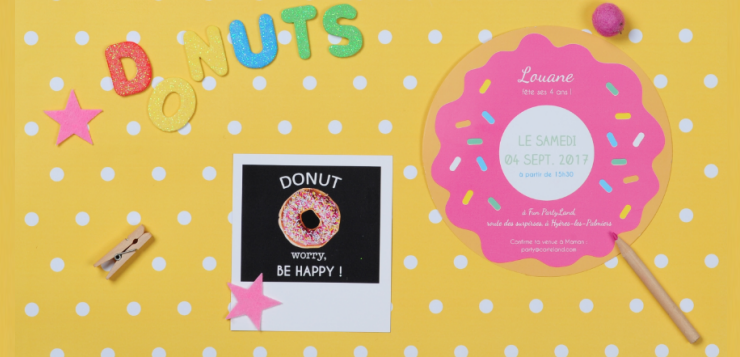 Invitation anniversaire en forme de donuts