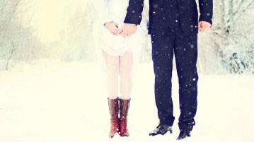 Mariage en hiver la tenue du couple