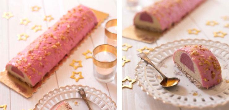 idée buche de Noël rose