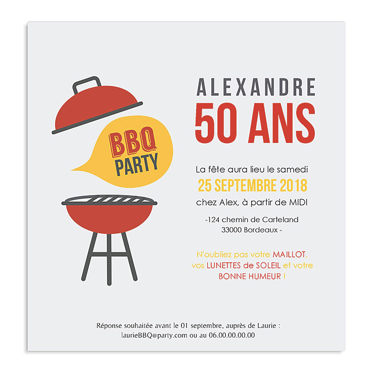 invitation anniversaire barbecue