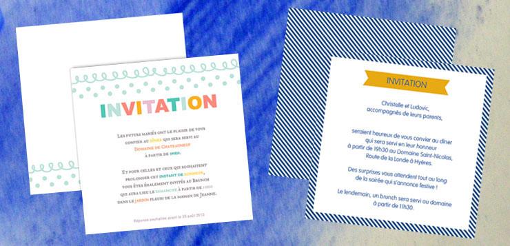invitation au repas du mariage