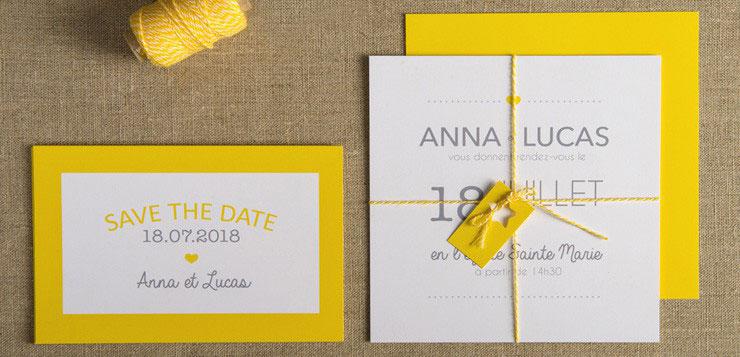 faire part de mariage jaune citron