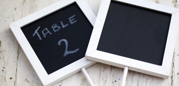 Plan de table de mariage design ardoise