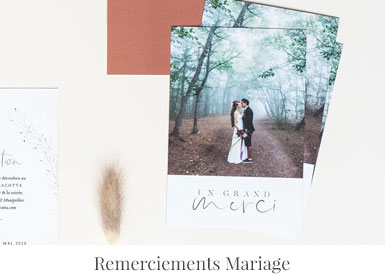 Carte de remerciement mariage personnalisée